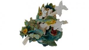 Bouquet de fleurs en céramique émaillée