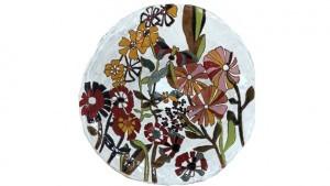 Coupe à fruit et dessins fleurs en céramique émaillée vue de haut