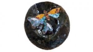 Coupe à fruit papillons en céramique émaillée