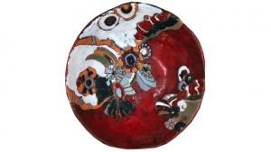 Art décoration en terre cuite émaillée - Saladier rouge en céramique émaillée