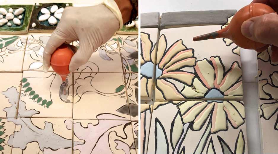 Ceramiques_Murales_poire_application_emaux